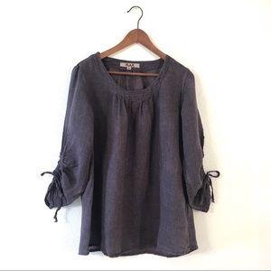 Flax Plum Linen Cinch Sleeve Pullover Top